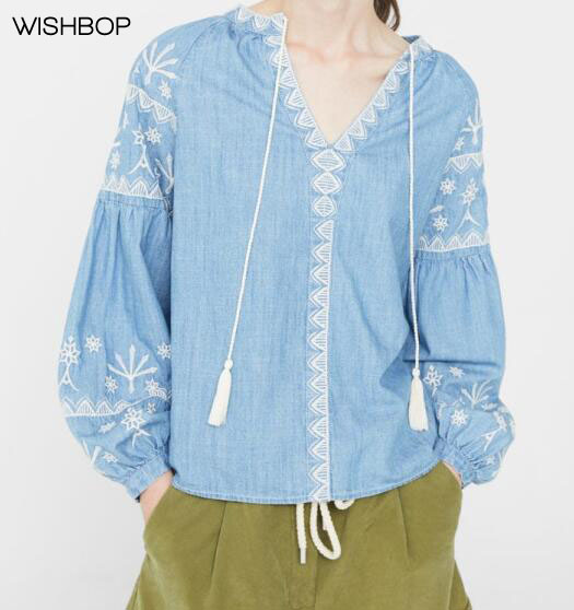 WISHBOP NEW 2017 FALL NEW Blue Retro Denim Blouse V-neck with fringed tied belt  Long Puff sleeved with embroidery tops cff0d9913c63