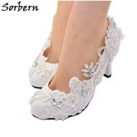 Sorbern 2018 White Bridal Wedding Shoes Lace Applique Crystal Beading Womens Pumps Ladies Party Shoes Bridal Shoes Pumps