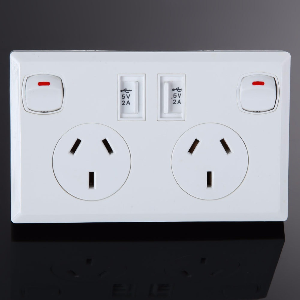 USB Wall Power Socket AC 250V 10A Dual USB Outlet AU Plug Adapter Socket 2 Switches Wall Charger Home Power Charger Panel us au eu plug seat socket 2 gange on off switch wall mount plate ac 250v 10a