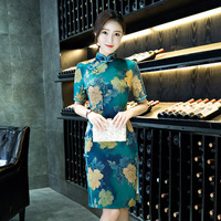 Haute De Mode Chinois Femmes Traditionnelle Qipao Vintage Imprimer Fleur Cheongsam Tops Chic Robe D'été Plus La Taille M L XL XXL XXXL