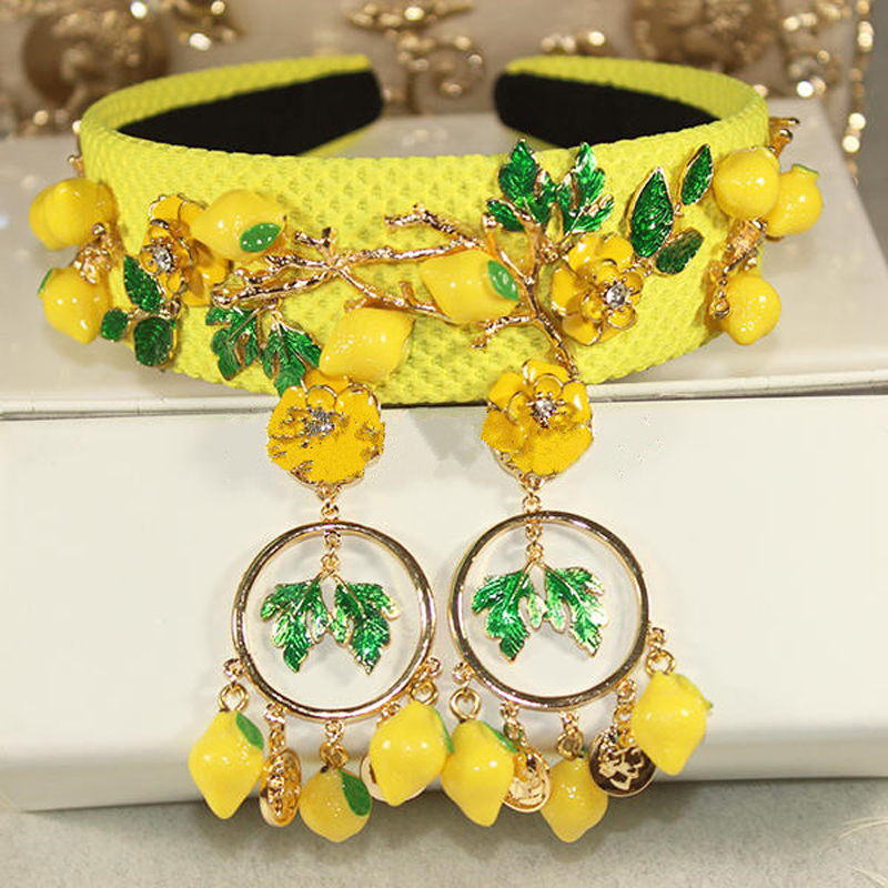New Hot Baroque fashion runway cute yellow lemon flower green leaves headbands for women luxury vintage hair accessories jewelry