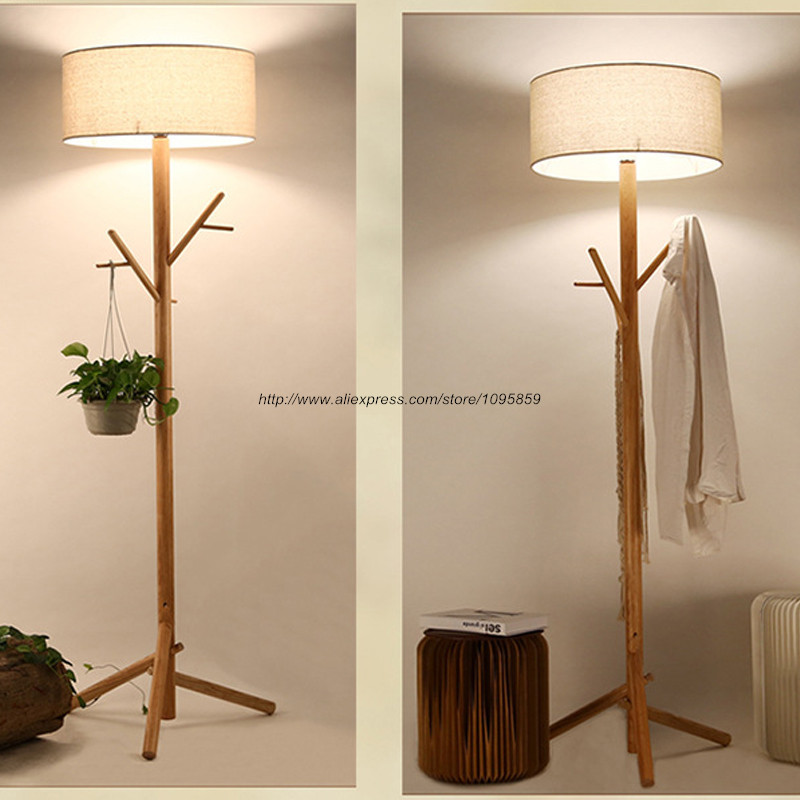 Modern Nordic Tree Branch Wood Floor Lamp Bedroom Living Room Wooden ...