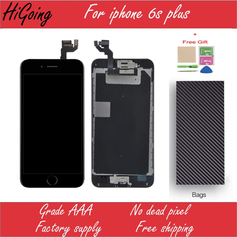 Top Grade Full LCD Display for iPhone 6s Plus LCD Touch Screen Digitizer Assembly Replacement +Home button+Camera+free Shipping grade a replacement lcd glass screen ecran touch display digitizer assembly for oppo r9 plus 6 0 inch white with free tool kit