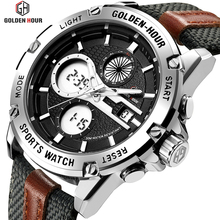 GOLDENHOUR Mens Fashion Outdoor Sports Analog Digital Watches Waterproof LED Display Army Watch Military Wristwatches for Men