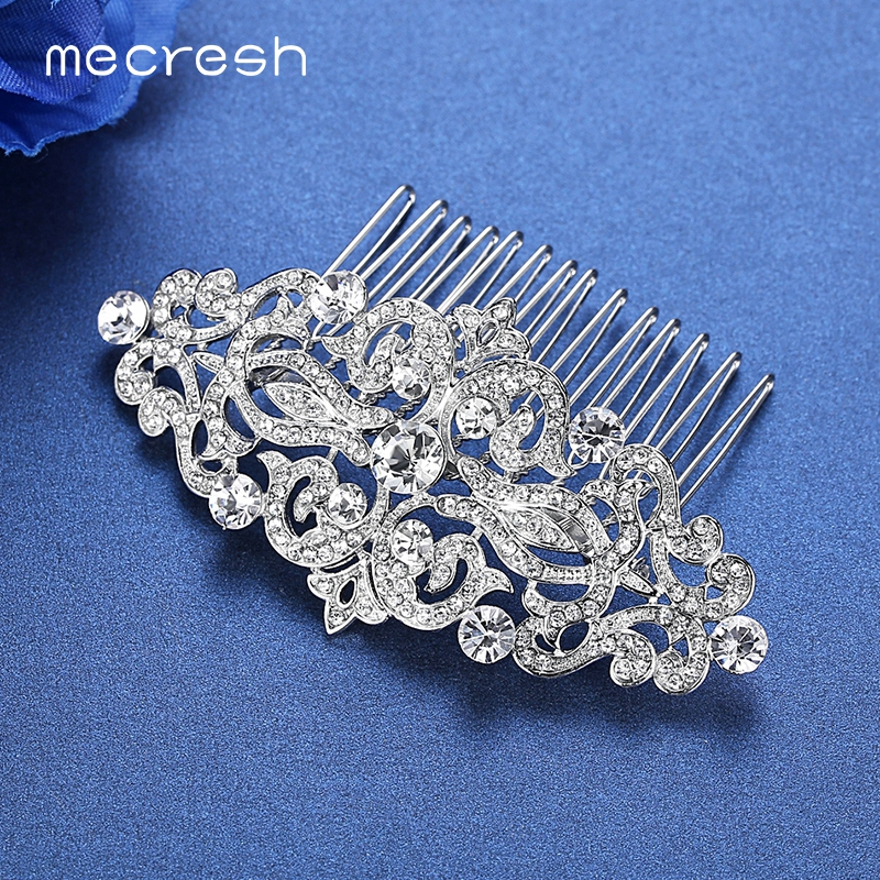 Mecresh Silver Color Rhinestone Flower Leaf Bridal Hair Comb for Girls Crystal Hair Ornaments Jewelry Wedding Hair Accessories 6