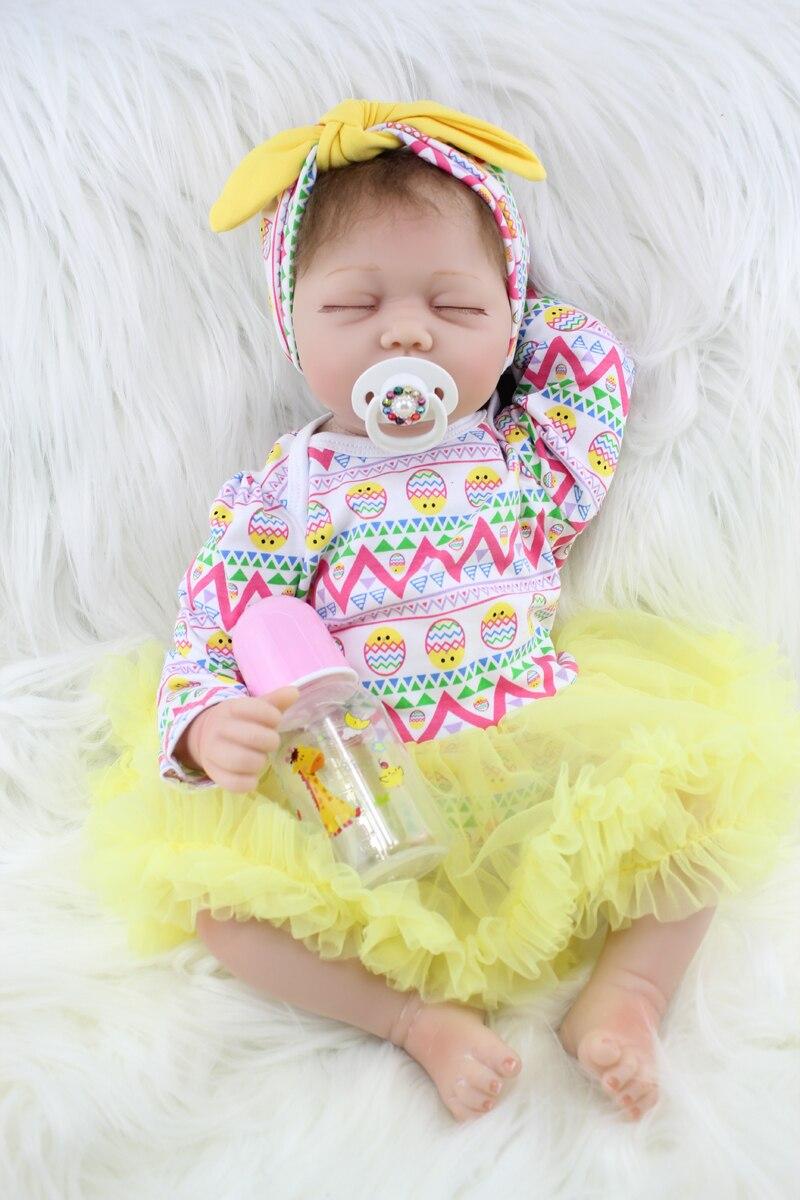 55 CM Soft Cloth Body Silicone Reborn Girl Doll Realistic Sleeping Newborn Babies Birthday Gift Present Kid Fashion Toy
