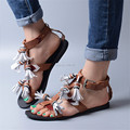 New Fashion Summer Brown Genuine Leather Sandals Fringed Women Casual Flat Shoes Strappy Beach Flats Sandalias Mujer