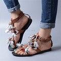 Nova Moda Sandálias de Verão Couro Genuíno Marrom Franjas Mulheres Casuais Sapatos Baixos Com Tiras Praia Flats Sandalias Mujer