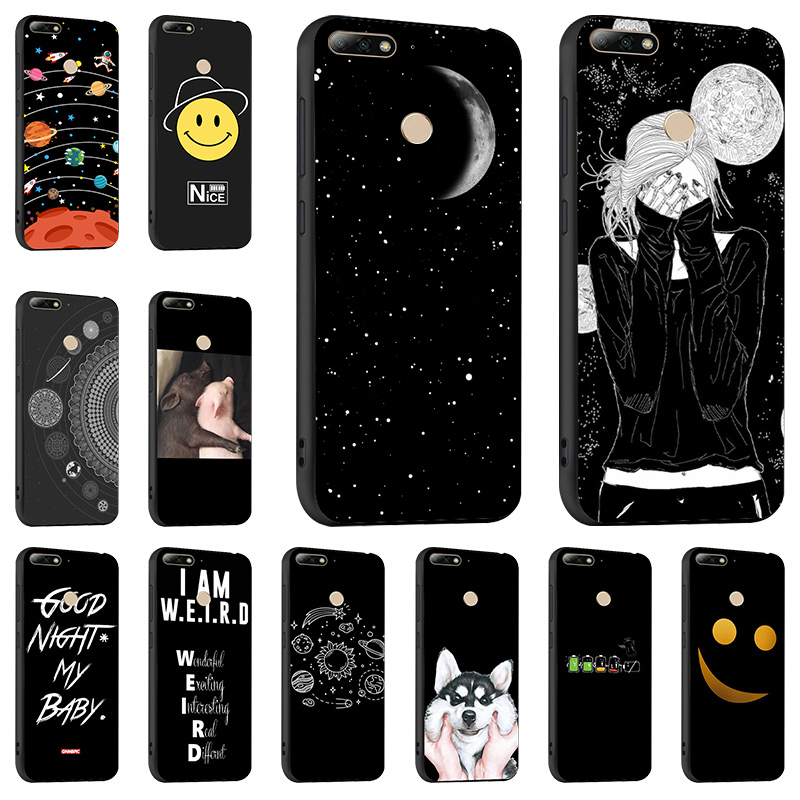 Fashion Black <font><b>Case</b></font> For <font><b>Huawei</b></font> <font><b>Y7</b></font> Y6 Y5 Prime <font><b>2018</b></font> <font><b>Y7</b></font> Pro 2019 <font><b>Cases</b></font> <font><b>Silicon</b></font> Cover Coque For <font><b>Huawei</b></font> Y9 2019 Bumper Funda Capa image