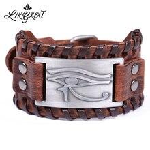 LIKGREAT металлические браслеты Амулеты с гравировкой Глаз Гора для мужчин винтажный браслет панк обертка из натуральной кожи браслеты ювелирные изделия