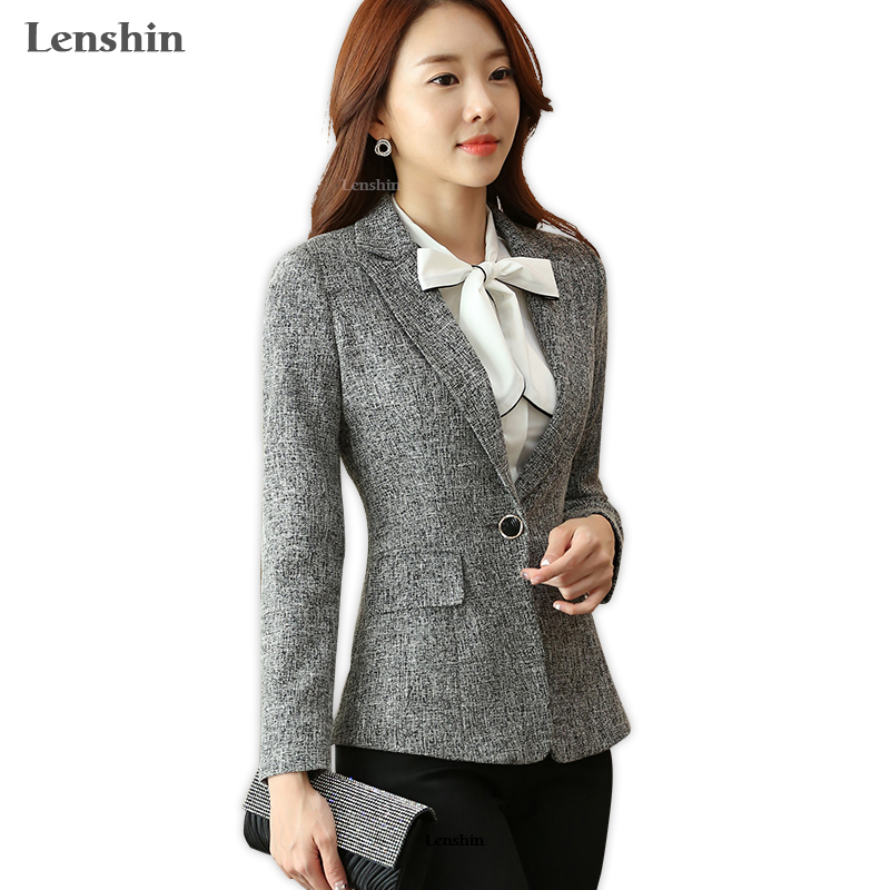 Lenshin Soft Cotton Jacket High Quality Fashion Gray Women Blazer Casual Wear Long Sleeve Coat Lady Vogue Top With Pocket