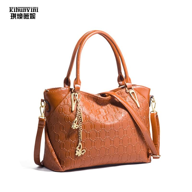 KIHUN Women Fashion Handbag Pu Leather Big Handbags European and American Style Hand Bags Female Purse 2018 New Bolsas Feminina fashion women handbags 2015 new european and american shoulder bag pu leather bolsas femininas