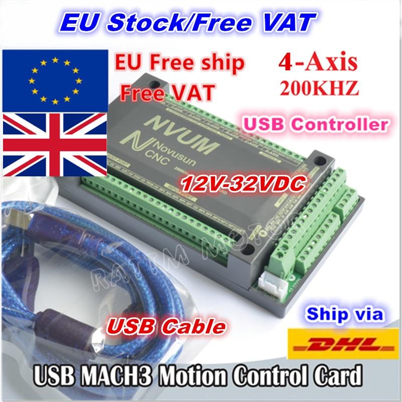 EU Delivery Free VAT 4 Axis USB Mach3 200KHZ NVUM CNC Controller Motion Control Card