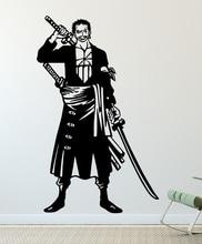 원피스 벽 스티커, 조로 세 칼 흐름, 비닐 장식 벽 스티커 홈 거실 소년 방 장식 HZW05