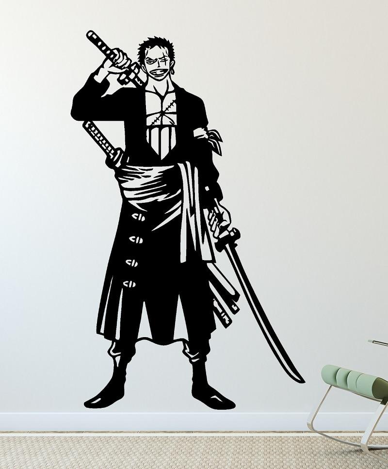 One Piece Wall Sticker, ZORRO  three knife flow, vinyl decorative wall stickers home living room boy room decoration  HZW05-in Wall Stickers from Home & Garden