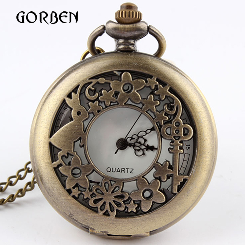 2019 Bronze Rabbit Hollow Quartz Pocket Watch Pendant Necklace Chain Vintage Pocket fob Watches relogio de bolso