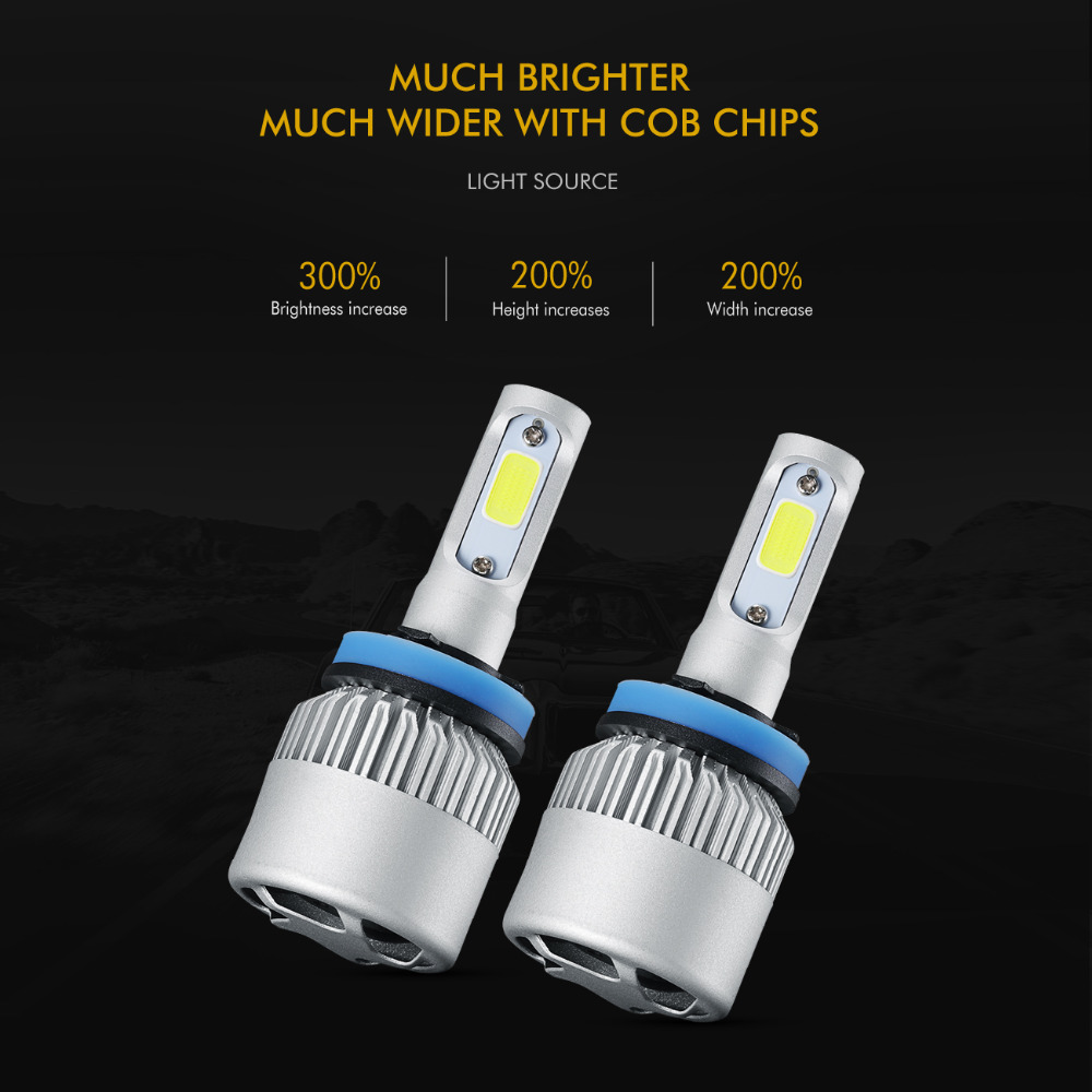 Auxmart 2Pcs 72W 8000lm H11 H4 Λαμπτήρες - Φώτα αυτοκινήτων - Φωτογραφία 2