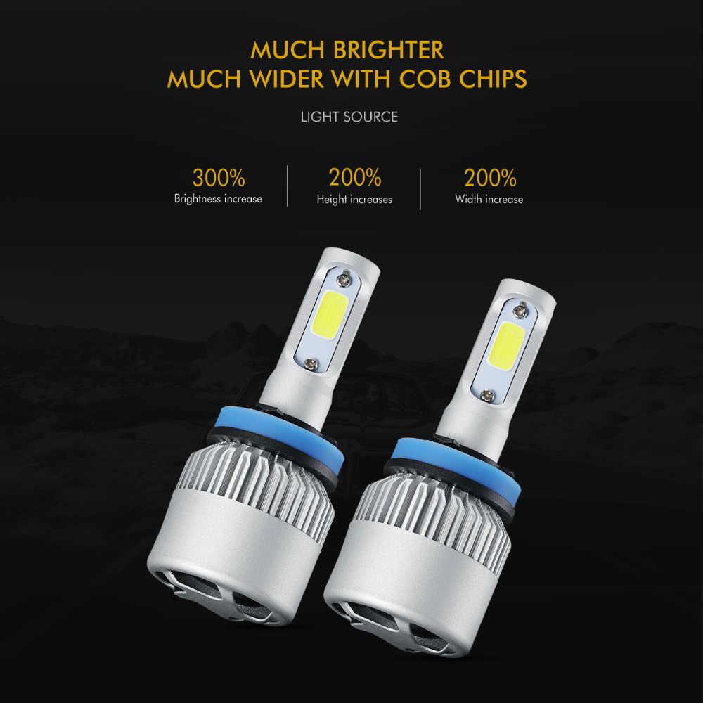 Auxmart 2Pcs 72W 8000lm H11 H4 Led Car Headlight Bulbs 6500K COB Auto H7 H13 H1 9004 9007 9005 9006 Led Car Lamp S2 Series