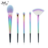 Anmor Rainbow Makeup Brush Set 5 Pieces Makeup Brushes Portable High Quality Travel Kit Soft Synthetic