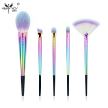 Anmor Rainbow Makeup Brush Set 5 Pieces Makeup Brushes Portable High Quality Travel Kit Soft Synthetic Make Up Brushes CF-531