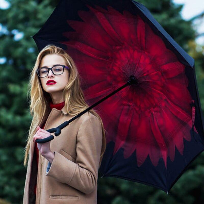 Envío de la gota a prueba de viento inversa plegable de doble capa invertida Chuva paraguas auto soporte protección contra la lluvia C-gancho manos para coche