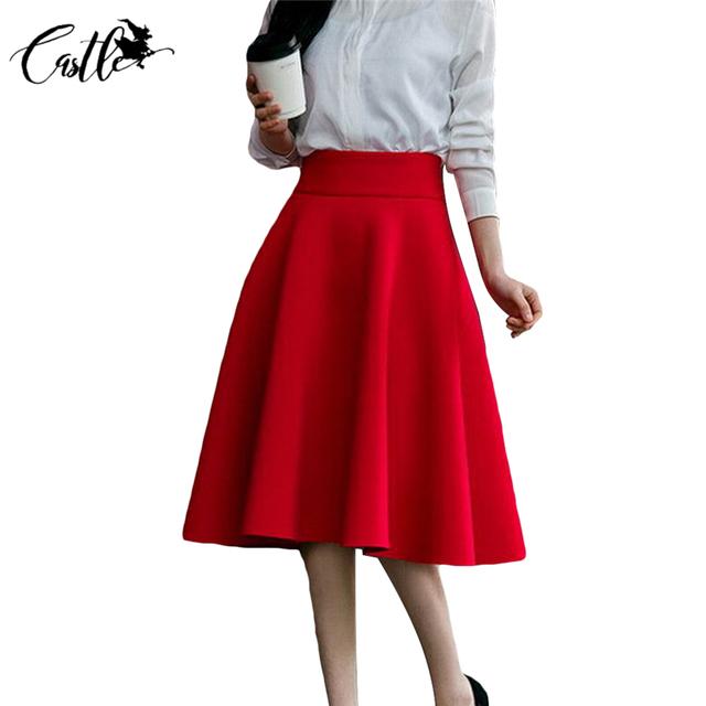 5XL Más El Tamaño de La Falda de Talle Alto Faldas Para Mujer de La Rodilla Blanco Fondos de longitud Plisada Falda Saia Preta Rosa Negro Rojo Azul 2017
