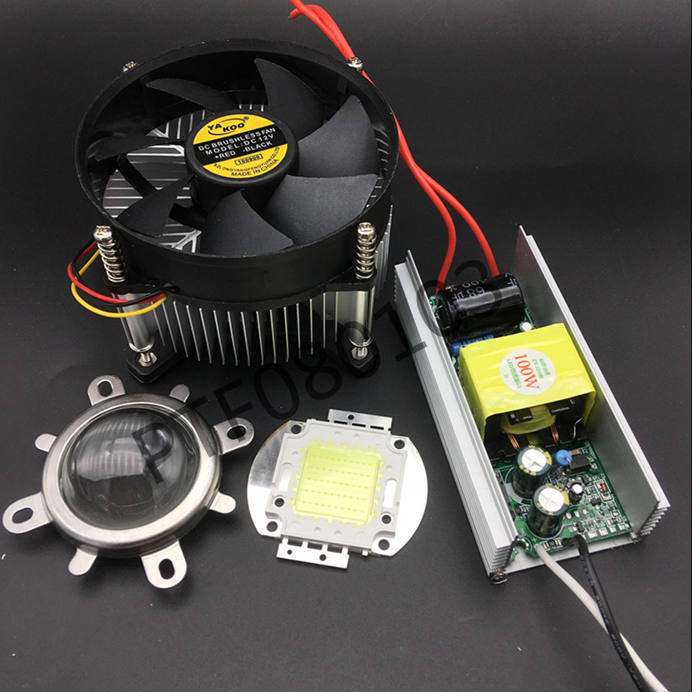 100Watt High Power White LED Chip + 100W Heatsink Cooler+100W LED Driver+100W 44mm Led Lens Kit