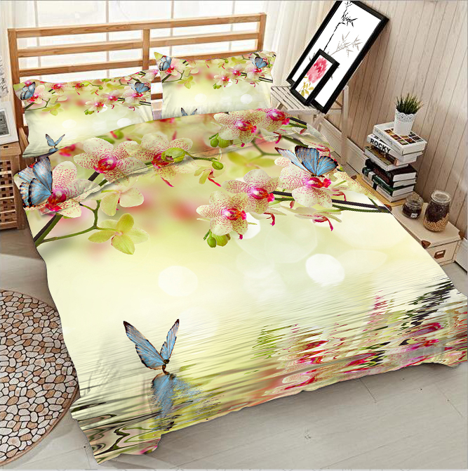Butterfly and yellow flowers on the water 3d effect photo bed linen can be customized photo patternButterfly and yellow flowers on the water 3d effect photo bed linen can be customized photo pattern