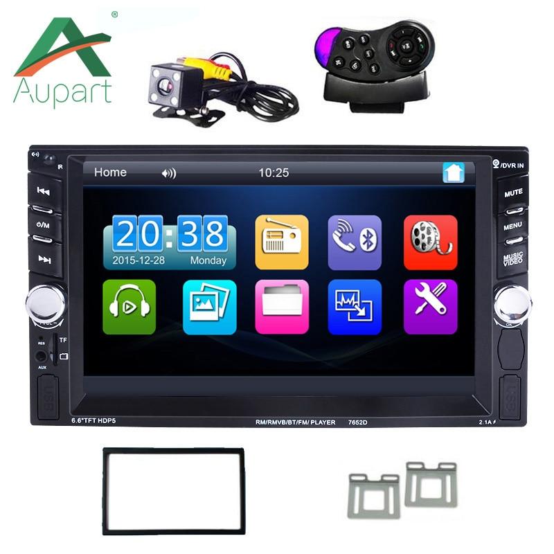 Новый 2 DIN 6.6 ''дюймовый ЖК-дисплей сенсорный экран автомагнитолы игрока поддержки Bluetooth Hands Free камера заднего вида автомобиля аудио USB автомобильное зарядное устройство