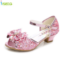 Summer girls sandals,Children fashion princess Party shoes,Bow crystal high heel sandals shoes for BS160
