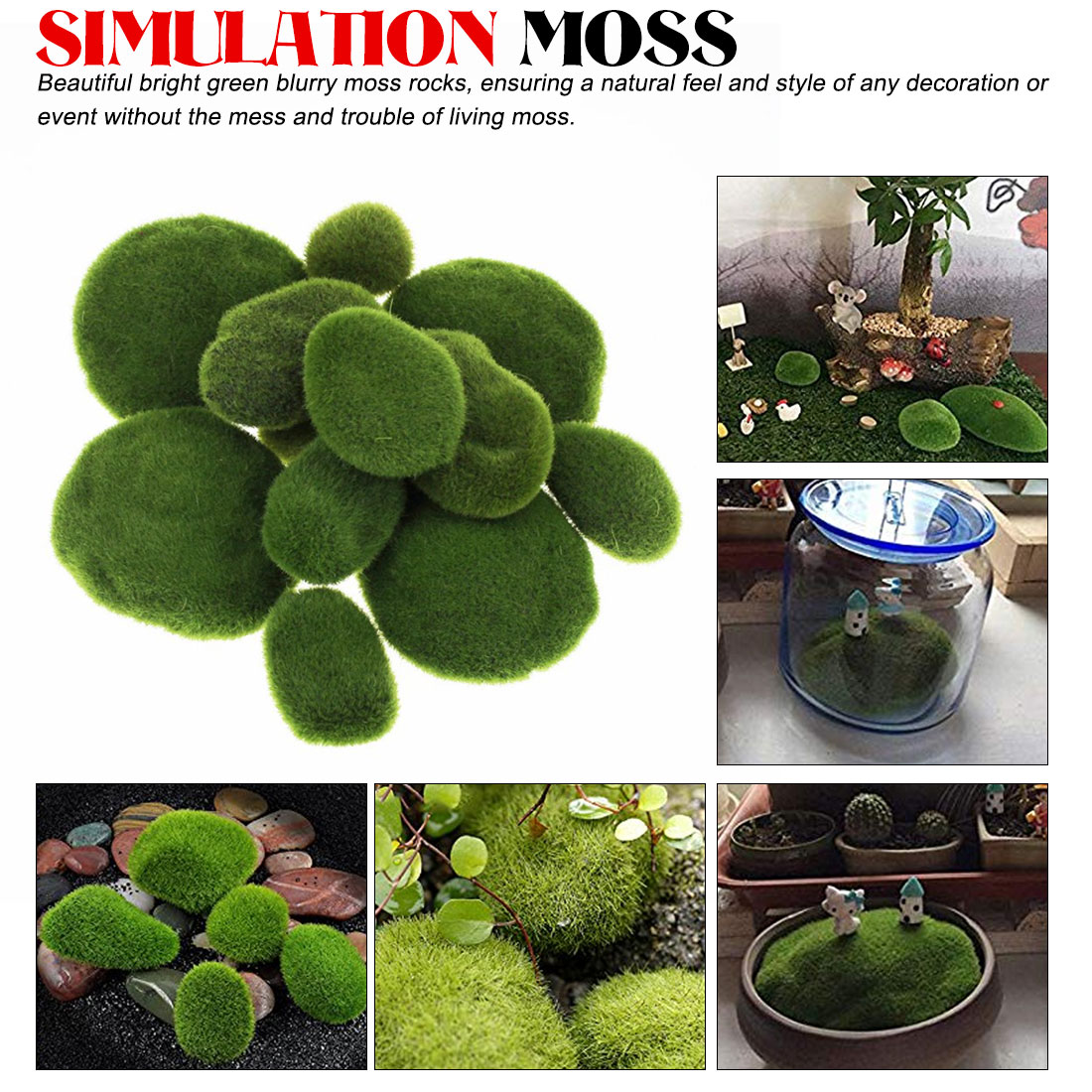 1 Bag Artificial Green Moss Ball Fake Stone Simulation Plant DIY Decoration For Shop Window Hotel Home Office Plant Wall Decor