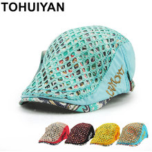 TOHUIYAN Womens Floral Print Newsboy Cap Fashion Cotton Beret Hat Duckbill Visor Artist Peaked Hat Boina Gorras Planas For Girls(China)