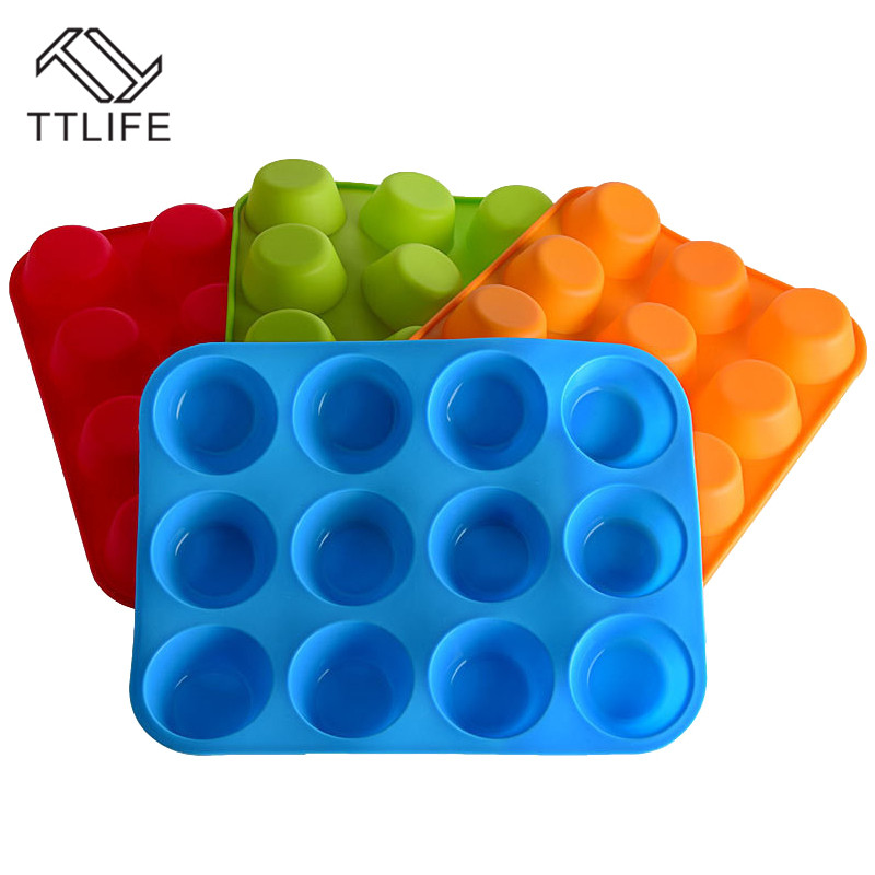 TTLIFE 12 Holes Cup Silicone Mold Muffin Fondant Cake Cupcake Snacks Cookies Baking Mould Party Wedding Bakeware Decorating Tool in Cake Molds from Home Garden