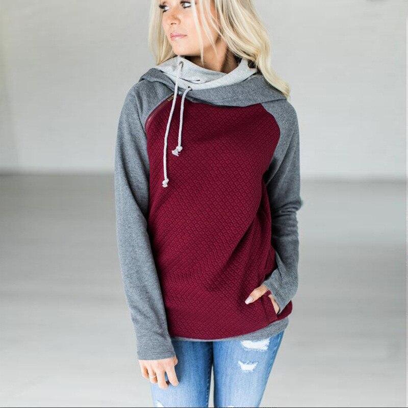 elsvios 2017 double hood hoodies sweatshirt women autumn long sleeve side zipper hooded casual patchwork hoodies pullover femme ELSVIOS 2017  hoodies, Autumn Long Sleeve HTB1KhuskOAKL1JjSZFoq6ygCFXaH