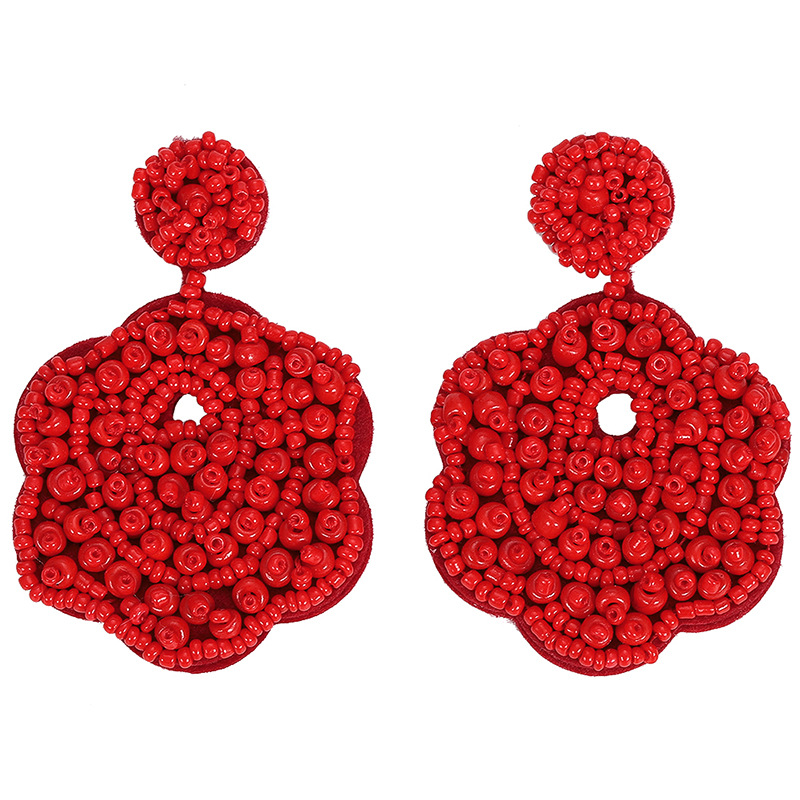 2019 Handmade Beading Flower Drop Earring Fashion Women Chic Crystal Statement Dangle Earrings Brincos Party Wedding Jewelry in Drop Earrings from Jewelry Accessories