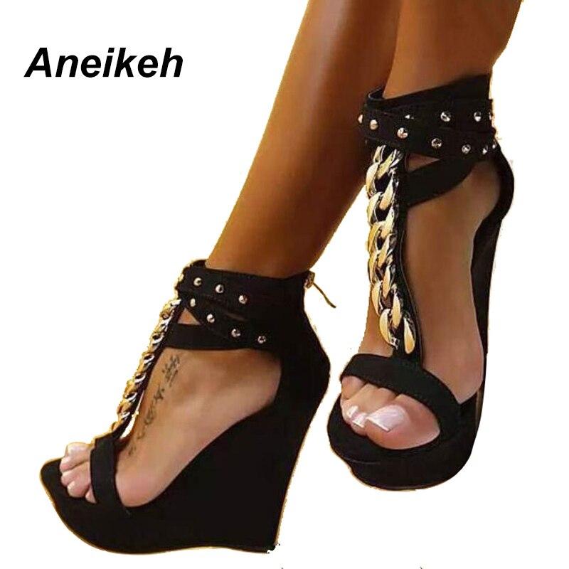 dbd92b05c79 Nuevo Gladiador 2018 Alto Aneikeh Tacón Para Las Black Sandalias Plataforma  Cuñas Cadena Moda De Mujer Mujeres Zapatos 2019 5nfnz4x