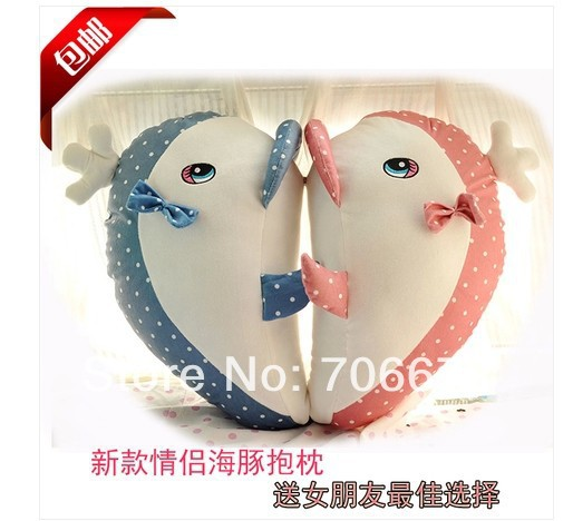 Environ 50 cm rose et bleu baleine tacheté conception peluche jouet poupée enfants cadeau t5580