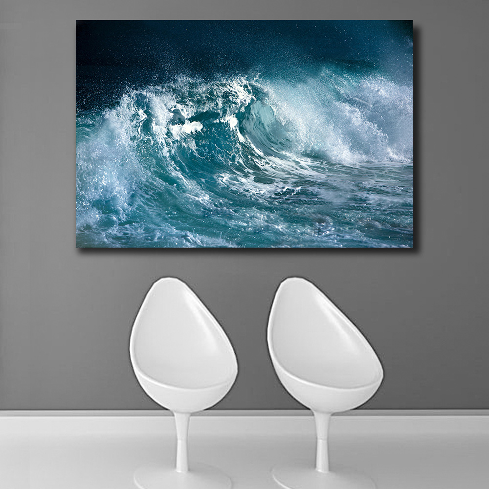 Embelish 1 Pieces Large HD Print Canvas Paintiing Ocean Wave Landscape Home Decor Wall A ...