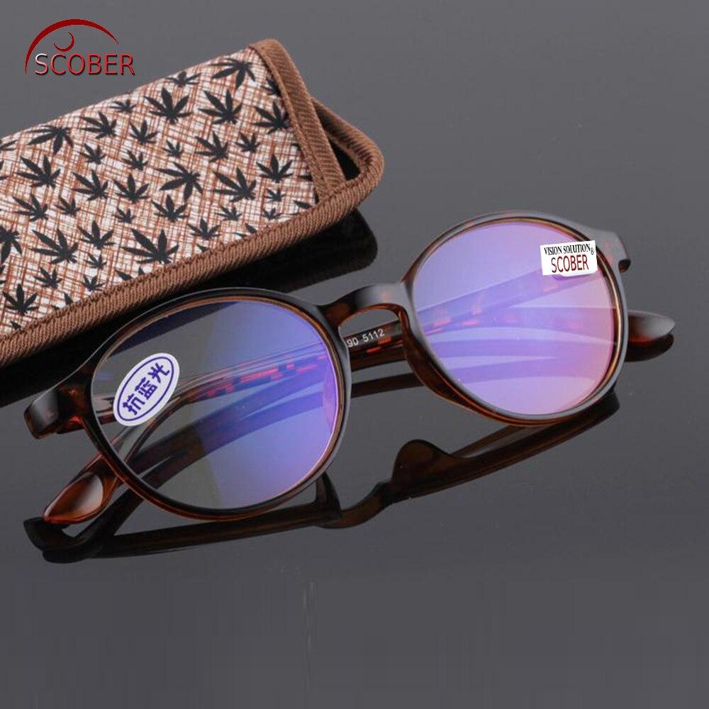 = Scober Anti-bleu lunettes de lecture Ultra-léger Tr90 léopard cadre lunettes livre Tv Pc + 0.5 + 0.75 + 1 + 1 .. 25 à + 6