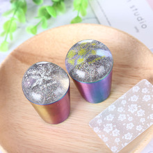 Silicone Nail Stamper with Scraper Colorful Handle For Stamping Plate Holographic Transparent Head Art Templates