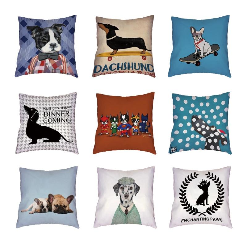 Lovely Christmas Dachshund White Cushion Cover Children Room Car Home Decor Peach Skin French Bulldog Throw Pillow Cases 45x45cm