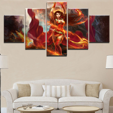 5 Panel DotA 2 Fantasy Fire Flame Goddess Lina Painting Canvas Wall Art Picture Home Decor Living Room Print Game Poster