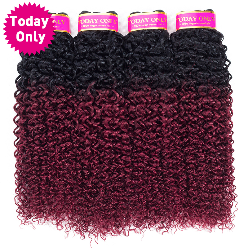 [TODAY ONLY] Ombre Brazilian Hair Kinky Curly Weave Human Hair 4 Bundles Deals 1b 99J Burgundy Brazilian Hair Weave Bundles