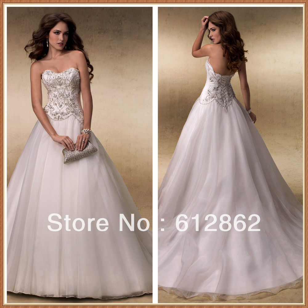 Strapless Sweetheart Low Back Beaded Torso A line Description Of ...