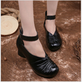 size 35-41 Black High-Heeled Square Heel Woman Shoes With Round Toe Thick Straps Pumps High Quality mother Shoes