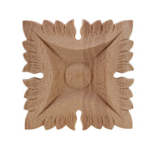 VZLX Flower Wood Carving Natural Wood Appliques For Furniture Cabinet Unpainted Wooden Mouldings Decal Decorative Figurine(China)