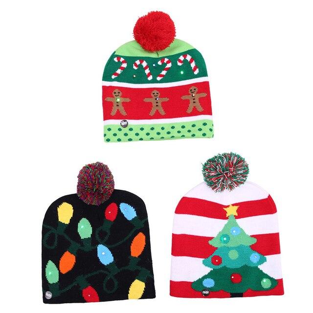 Światło LED boże narodzenie Beanie boże narodzenie sweter z dzianiny kapelusz akcesoria Cartoon błyszczące czapki z dzianiny Snowman modele słodkie Christmas Party