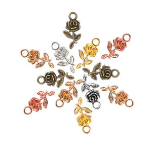 Craft-Accessories Earrings Necklace Beads Pendant Charm Jewelry-Making Rose-Flower Silver