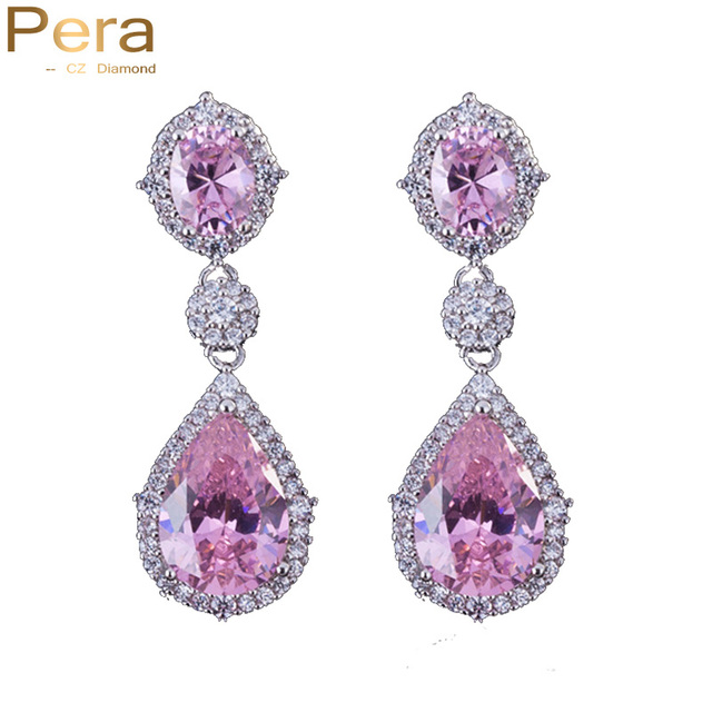 Pera Sparkling Silver Color Pink Cubic Zirconia Crystal Bridal Wedding Long Teardrop Earrings Jewelry For