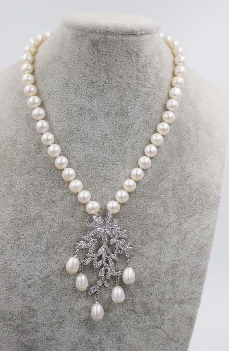 քաղցրահամ ջրերի մարգարիտ սպիտակ 9-1`0 - Նուրբ զարդեր - Լուսանկար 1